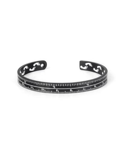 black Titanium Steel Number Vintage Cuff Bangle