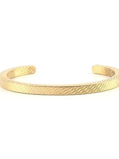 golden Titanium Steel Geometric Vintage Cuff Bangle
