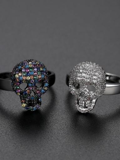 Brass Cubic Zirconia Skull Minimalist Band Ring