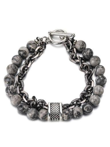 The whole map Titanium Steel Obsidian Geometric Hip Hop Beaded Bracelet