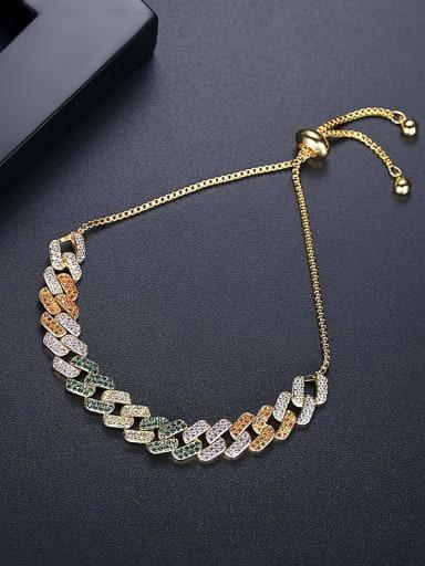 18k gold T21A07 Brass Cubic Zirconia Geometric Hip Hop Link Bracelet