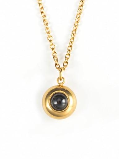 golden Titanium Steel Rhinestone Round Hip Hop Necklace