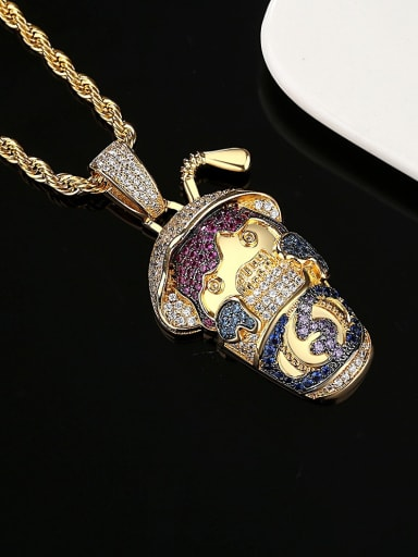 Brass Cubic Zirconia Zodiac Ox head  Hip Hop Necklace