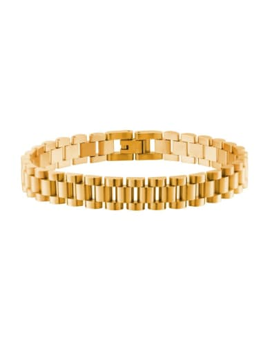 Gold Titanium Steel Geometric Minimalist Link Bracelet