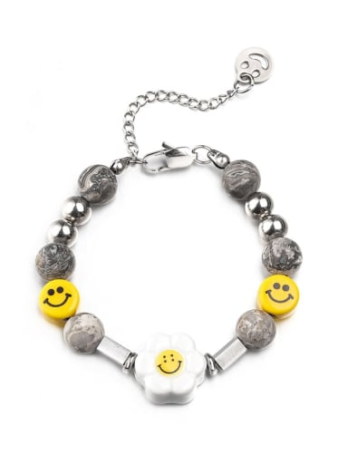 Steel color bracelet (18.5+5cm) Titanium Steel  Geometric Hip Hop Sun Flower Smiley Necklace