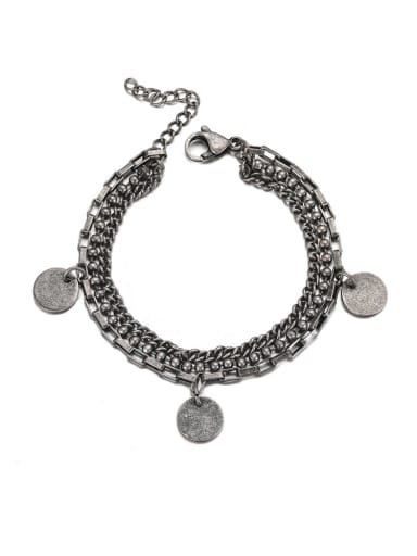Ancient Titanium Steel Irregular Hip Hop Strand Bracelet