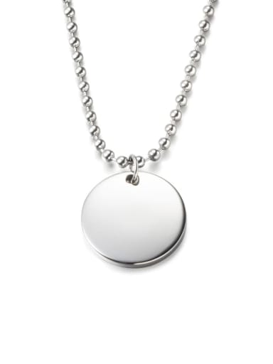 Steel color (chain length 51cm) Titanium Steel Glossy Round Pendant Necklace