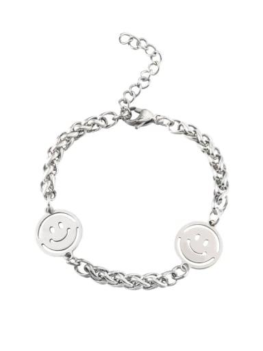 Steel color (keel chain) Titanium Steel Smiley Minimalist Beaded Bracelet