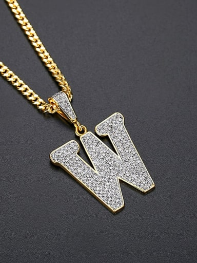 Brass Cubic Zirconia Letter Hip Hop Initials Necklace