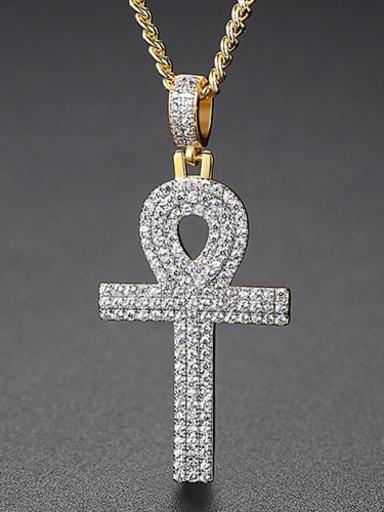 White zirconium t20d06 Copper Cubic Zirconia Key Hip Hop Necklace