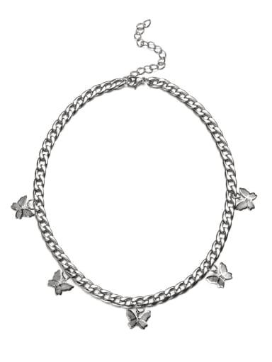 Titanium Steel Butterfly Hip Hop Hollow Chain Necklace