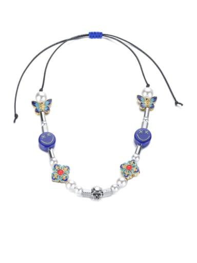 Titanium Steel Imitation Pearl Enamel Geometric Bohemia Necklace