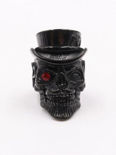 black Titanium Skull Vintage Statement Ring