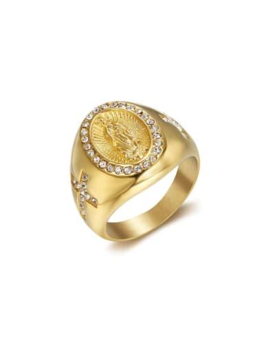 Titanium Rhinestone Round Vintage Band Ring