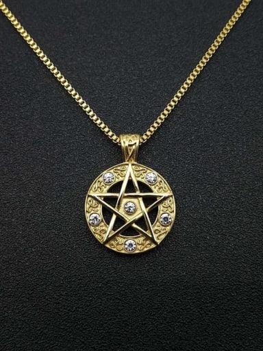 Titanium Steel Rhinestone Star Vintage Necklace