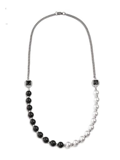 Titanium Steel Imitation Pearl Irregular Hip Hop Long Strand Necklace