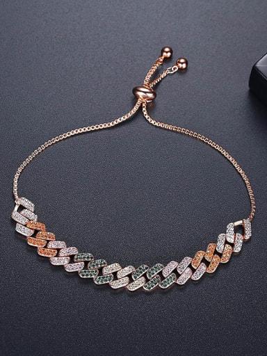 Brass Cubic Zirconia Geometric Hip Hop Link Bracelet