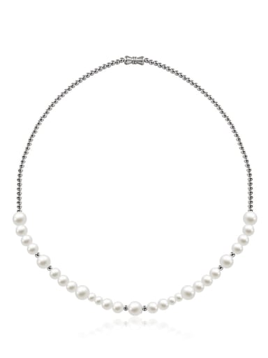 Stainless steel Imitation Pearl Geometric Hip Hop Necklace