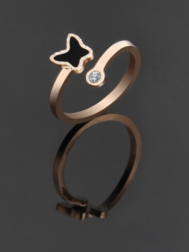 rose gold Titanium Minimalist Butterfly Band Ring