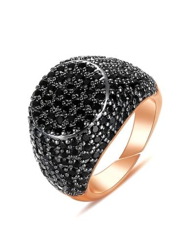 Brass Cubic Zirconia Geometric Hip Hop Band Ring