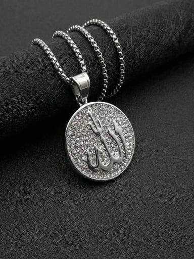 Titanium Steel Rhinestone Round Vintage Necklace