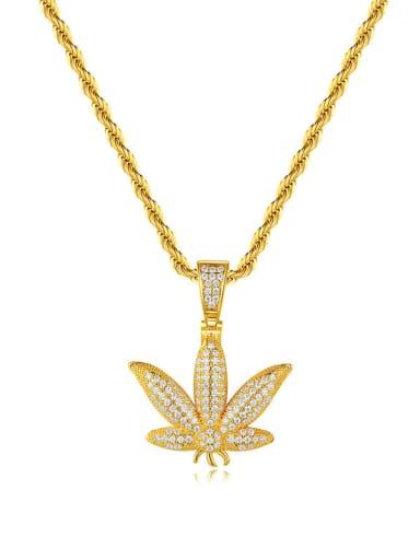 Brass Cubic Zirconia Flower Hip Hop Necklace