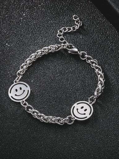 Titanium Steel Smiley Minimalist Beaded Bracelet