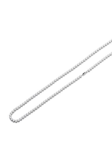 Steel color 4mm*45cm Titanium Steel Cubic Zirconia Geometric Minimalist Necklace