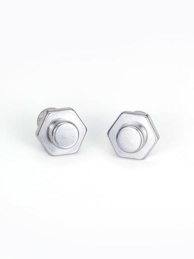 hexagon screw ears in steel color Titanium Steel Irregular Vintage Stud Earring
