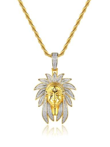 Brass Cubic Zirconia Irregular Hip Hop Necklace