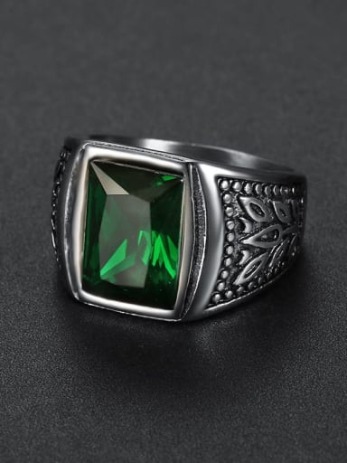green Stainless steel Glass Stone  Irregular Vintage Solitaire Ring