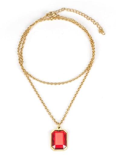 Ruby (without chain) Titanium Steel Glass Stone Geometric Minimalist Long Strand Necklace