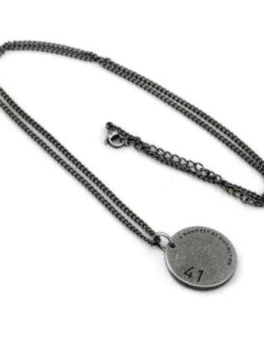 Antique  (chain length 60cm) Titanium Steel Geometric Hip Hop Long Strand Necklace