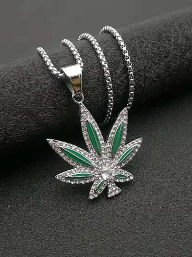 Steel color Titanium Steel Cubic Zirconia Enamel Leaf Vintage Necklace