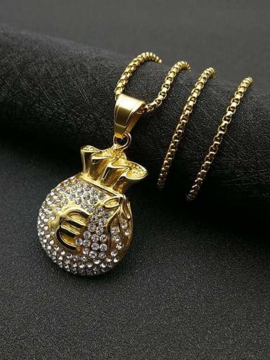 Gold  Chain 3mm*61cm Titanium Steel Rhinestone Irregular Vintage Necklace