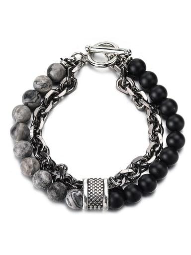 Map rough chain Titanium Steel Obsidian Geometric Hip Hop Beaded Bracelet