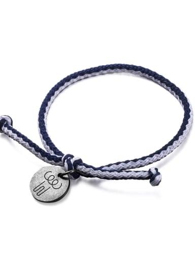 Blue and white rope Titanium Steel Bowknot Hip Hop Woven Bracelet