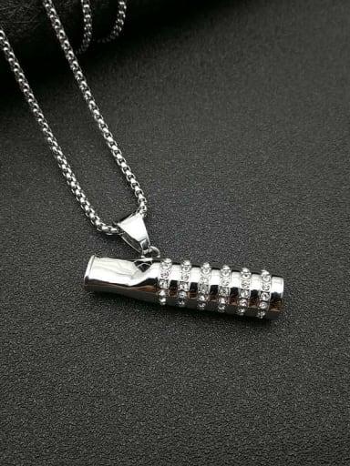 Titanium Steel Rhinestone Mouth Vintage Necklace