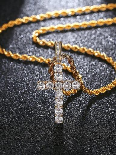 18k18in 46cm twist chain t20b27 t20a01 Brass Cubic Zirconia Cross Hip Hop Regligious Necklace