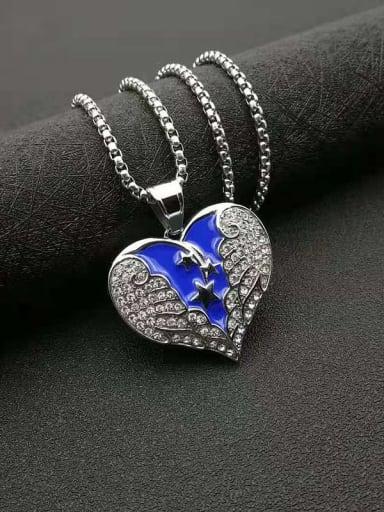 Steel color Titanium Steel Cubic Zirconia Enamel Heart Vintage Necklace