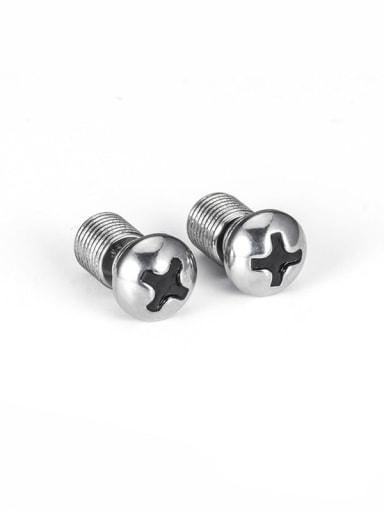 screw ears in steel color Titanium Steel Irregular Vintage Stud Earring