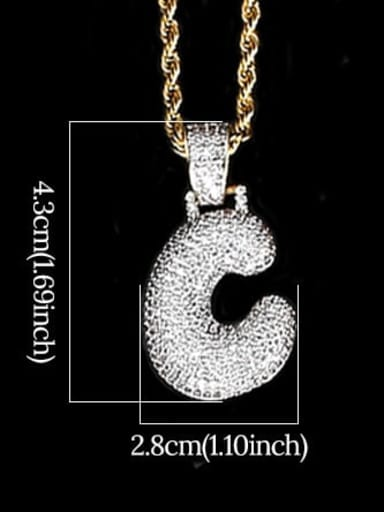 C 24in 61cm T20I03 T20A02 Brass Cubic Zirconia Message Hip Hop Necklace