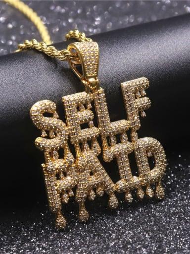 Copper Cubic Zirconia Letter Hip Hop Initials Pendant Necklace