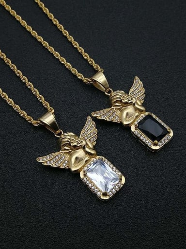 Titanium Steel Glass Stone Angel Vintage Necklace