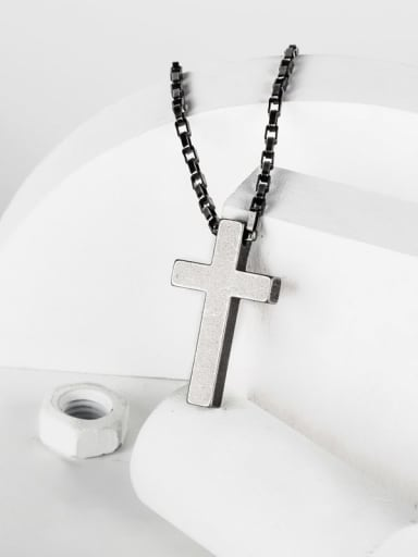 Titanium Steel Smooth Cross Hip Hop Necklace