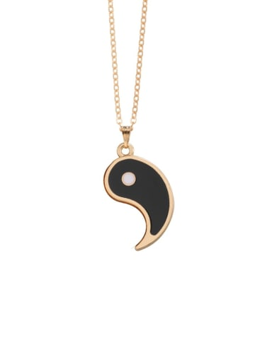 Gold right black Titanium Steel Round  Yin And Yang Gossip Necklace