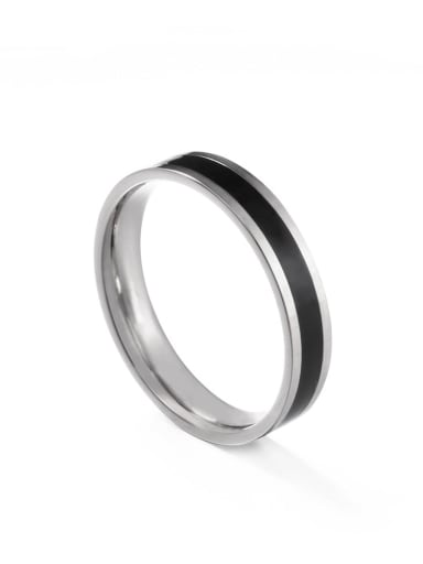 Steel black glue Titanium Steel Enamel Round Minimalist Band Ring