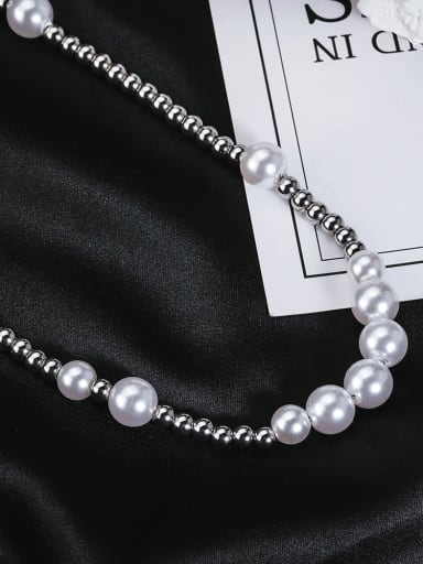 Titanium Steel  Clavicle Chain Stitching Pearls Necklace