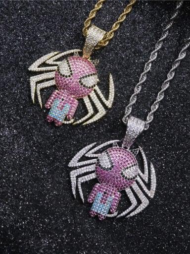 Copper Spider Cubic Zirconia Irregular Hip Hop Pendant  Necklace