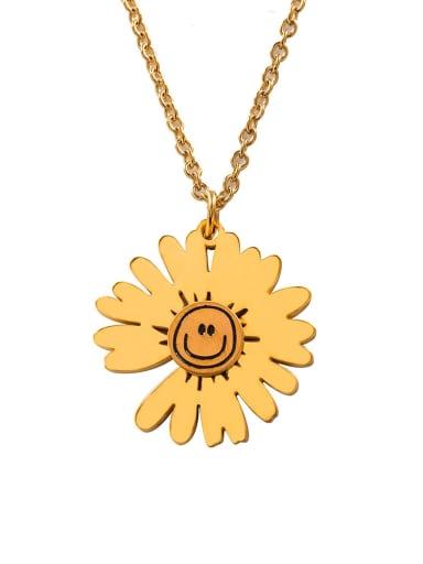 golden Titanium Steel Flower Hip Hop Necklace